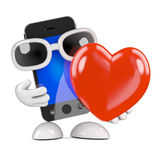 3d Smartphone with a big red heart. 3d render of a smartphone holding a big red romantic heart Stock Image