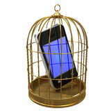 3d Smartphone in a birdcage Royalty Free Stock Photography