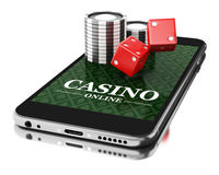 3d Smartphone with coins and dice. Online casino concept. 3d Illustration. Smartphone with coins and dice. Online casino concept. Isolated white background Royalty Free Stock Images