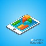3D Smartphone com gráficos coloridos na projeção isométrica Molde infographic moderno Ilustração isométrica do vetor Imagem de Stock Royalty Free