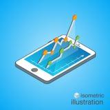 3D Smartphone com gráficos na projeção isométrica Molde infographic moderno Ilustração isométrica do vetor Fotos de Stock Royalty Free