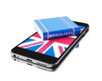 3d Smartphone con el libro inglés Aprendizaje de idiomas Imagen de archivo