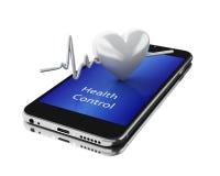 3d Smartphone con i battiti cardiaci Immagini Stock