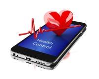 3d Smartphone con i battiti cardiaci Fotografia Stock Libera da Diritti