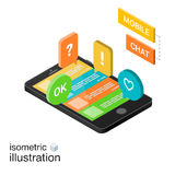 3D Smartphone con i fumetti variopinti su un fondo bianco Chiacchierata mobile Illustrazione isometrica di vettore Immagini Stock Libere da Diritti