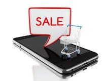 3d Smartphone con il carrello che promuove gli sconti di vendita Fotografia Stock Libera da Diritti