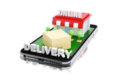 3d Smartphone con il deposito e le scatole Fotografia Stock Libera da Diritti