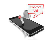 3d Smartphone con il megafono ed il discorso della bolla con Immagini Stock