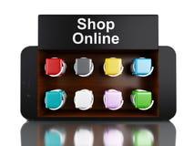 3d Smartphone con il negozio online Fotografia Stock