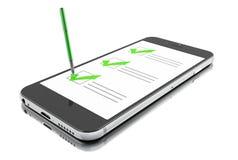 3d Smartphone con l'indicatore ed il questionario online della lista di controllo illustrazione di stock