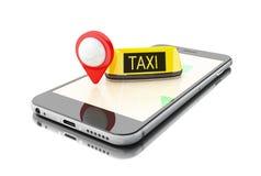 3D Smartphone con la domanda di taxi online Fotografia Stock Libera da Diritti