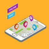 3D Smartphone con la mappa della città Mappa online, navigazione mobile app Fotografia Stock