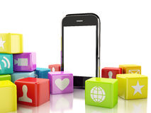 3d Smartphone con la nuvola delle icone dell'applicazione Fotografia Stock Libera da Diritti
