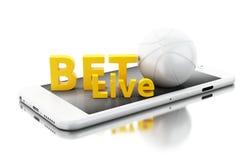 3d Smartphone con la palla del basquet e scommessa in tensione Scommessa del concetto Fotografie Stock Libere da Diritti