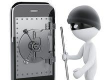 3d Smartphone con la porta sicura Concetto mobile di sicurezza Fotografia Stock Libera da Diritti