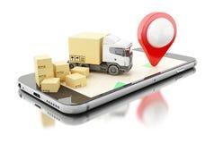 3D Smartphone con las cajas de cartón Concepto del envío de la entrega Imagen de archivo libre de regalías