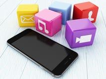3D Smartphone con le icone di App Immagine Stock