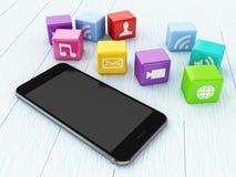 3D Smartphone con le icone di App Fotografie Stock