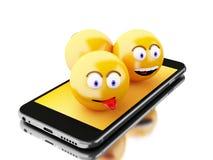 3d Smartphone con le icone di Emoji Fotografia Stock Libera da Diritti