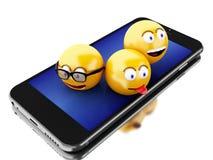 3d Smartphone con le icone di Emoji Fotografie Stock Libere da Diritti