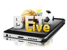 3d Smartphone con le palle di sport e scommessa in tensione Scommessa del concetto Immagine Stock