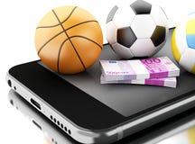 3d Smartphone con le palle ed i soldi di sport Fotografie Stock