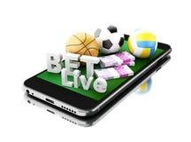 3d Smartphone con le palle, i soldi e la scommessa di sport in tensione Fotografie Stock Libere da Diritti