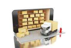 3D Smartphone con le scatole di cartone Concetto di trasporto di consegna Fotografia Stock Libera da Diritti