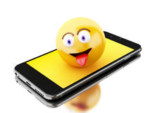 3d Smartphone con los iconos de Emoji Imagenes de archivo