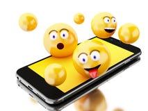 3d Smartphone con los iconos de Emoji Fotografía de archivo libre de regalías