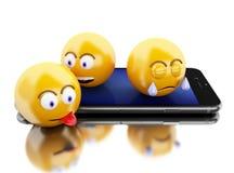 3d Smartphone con los iconos de Emoji Fotos de archivo libres de regalías