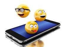 3d Smartphone con los iconos de Emoji Fotografía de archivo