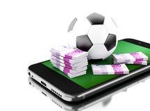 3d Smartphone con pallone da calcio e soldi Fotografia Stock Libera da Diritti