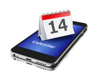3d Smartphone con un calendario e un numero quattordici Fotografia Stock Libera da Diritti