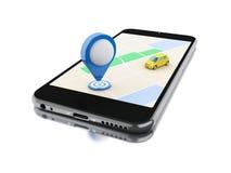 3d Smartphone con un mapa y un indicador azul Fotografía de archivo