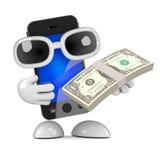 3d Smartphone a des dollars US Photos libres de droits