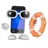 3d Smartphone distribue une bouée de sauvetage Image libre de droits