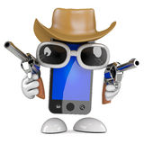 3d Smartphone dressed as a cowboy with pistols Stock Image