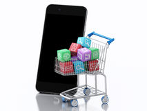 3d Smartphone e carrello con le icone di Apps Immagini Stock Libere da Diritti