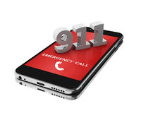 3d Smartphone with emergency call. 3d illustration. Smartphone with emergency call. Mobile security services concept. Isolated white background Stock Photo