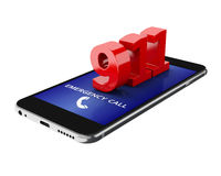 3d Smartphone with emergency call. Stock Photography