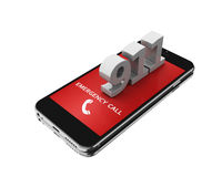 3d Smartphone with emergency call. 3d illustration. Smartphone with emergency call. Mobile security services concept. Isolated white background Stock Photography