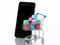 3d Smartphone et caddie avec des icônes d'Apps Images libres de droits