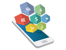 3d smartphone with flat icons Stock Photo