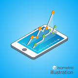 3D Smartphone with graphs in the isometric projection. Modern infographic template. Isometric vector illustration.  Royalty Free Stock Photos