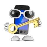 3d Smartphone hält einen goldenen Schlüssel Stockfotografie
