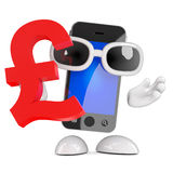 3d Smartphone holds a UK Pounds Sterling symbol. 3d render of a smartphone character holding a UK Pounds Sterling symbol stock illustration