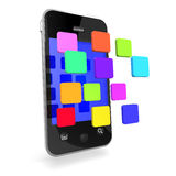 3d Smartphone icons appear Stock Photography