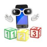 3d Smartphone insegna al per la matematica Fotografia Stock