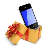 3d Smartphone jumps out of gift box Stock Photography